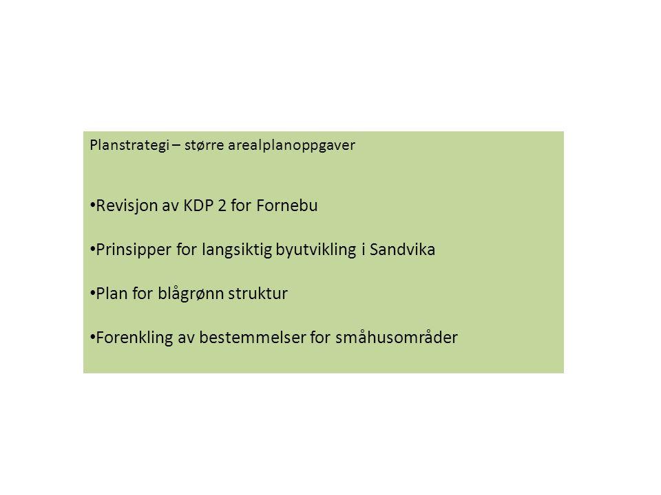Planstrategi – større arealplanoppgaver Revisjon av KDP 2 for Fornebu Prinsipper for langsiktig byutvikling i Sandvika Plan for blågrønn struktur Fore