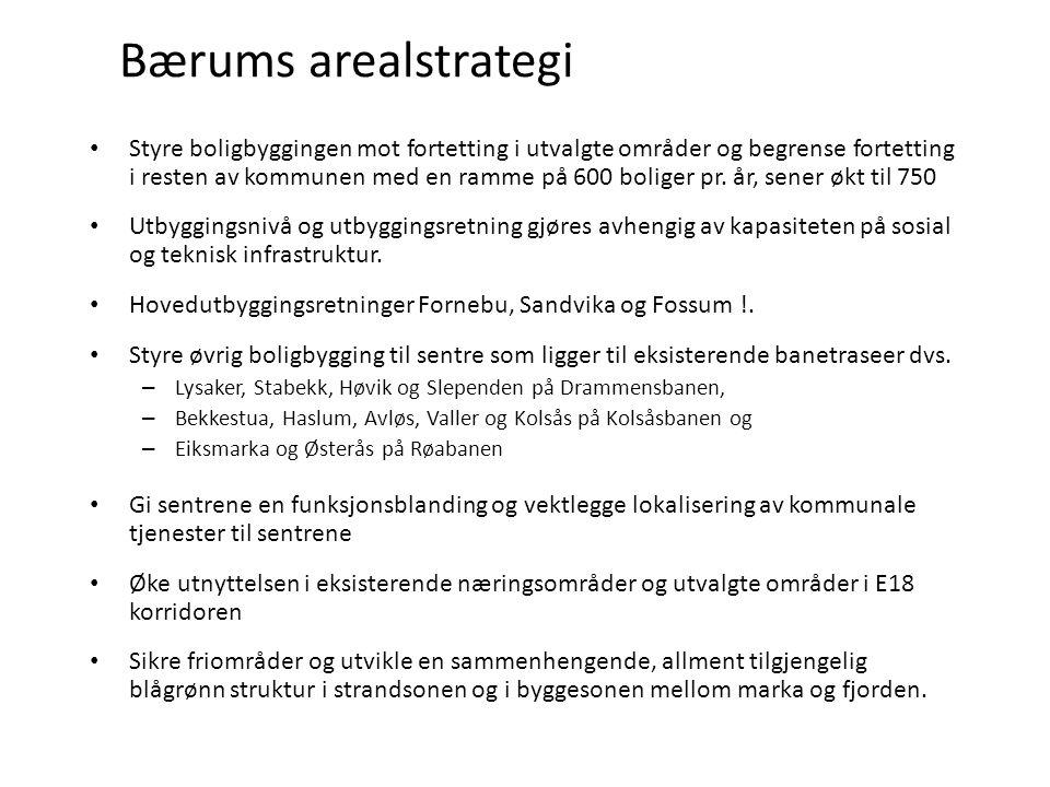 Bærums arealstrategi Styre boligbyggingen mot fortetting i utvalgte områder og begrense fortetting i resten av kommunen med en ramme på 600 boliger pr