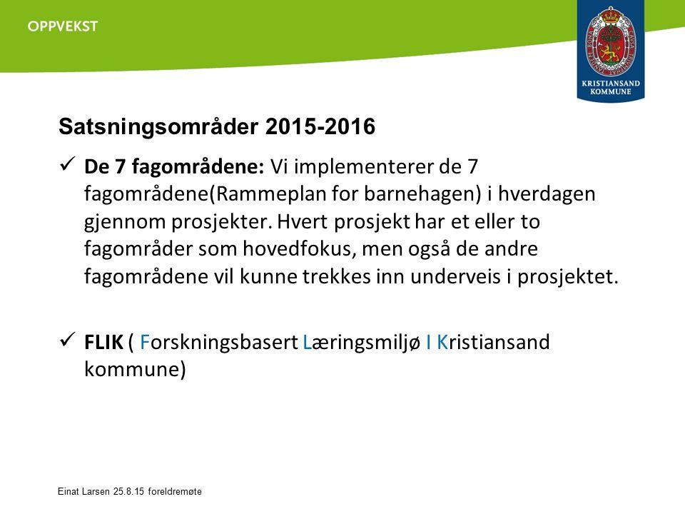 Satsningsområder 2015-2016 De 7 fagområdene: Vi implementerer de 7 fagområdene(Rammeplan for barnehagen) i hverdagen gjennom prosjekter.