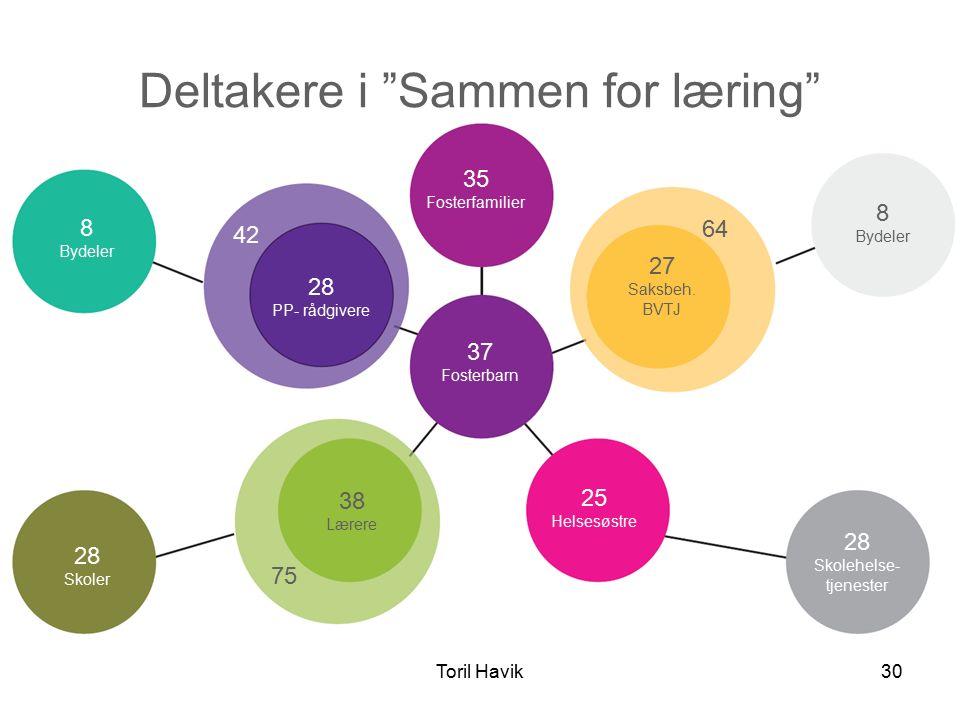 Toril Havik30 Deltakere i Sammen for læring 28 PP- rådgivere 8 Bydeler 37 Fosterbarn 35 Fosterfamilier 38 Lærere 28 Skoler 28 Skolehelse- tjenester 8 Bydeler 27 Saksbeh.