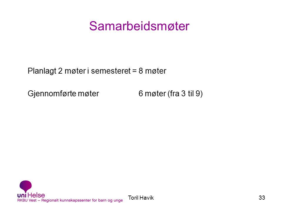 Toril Havik33 Samarbeidsmøter Planlagt 2 møter i semesteret = 8 møter Gjennomførte møter 6 møter (fra 3 til 9)