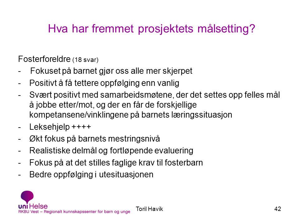 Toril Havik42 Hva har fremmet prosjektets målsetting.
