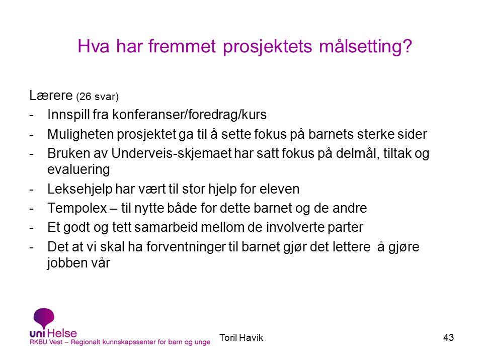 Toril Havik43 Hva har fremmet prosjektets målsetting.