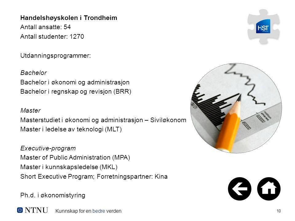 Kunnskap for en bedre verden 10 Handelshøyskolen i Trondheim Antall ansatte: 54 Antall studenter: 1270 Utdanningsprogrammer: Bachelor Bachelor i økono