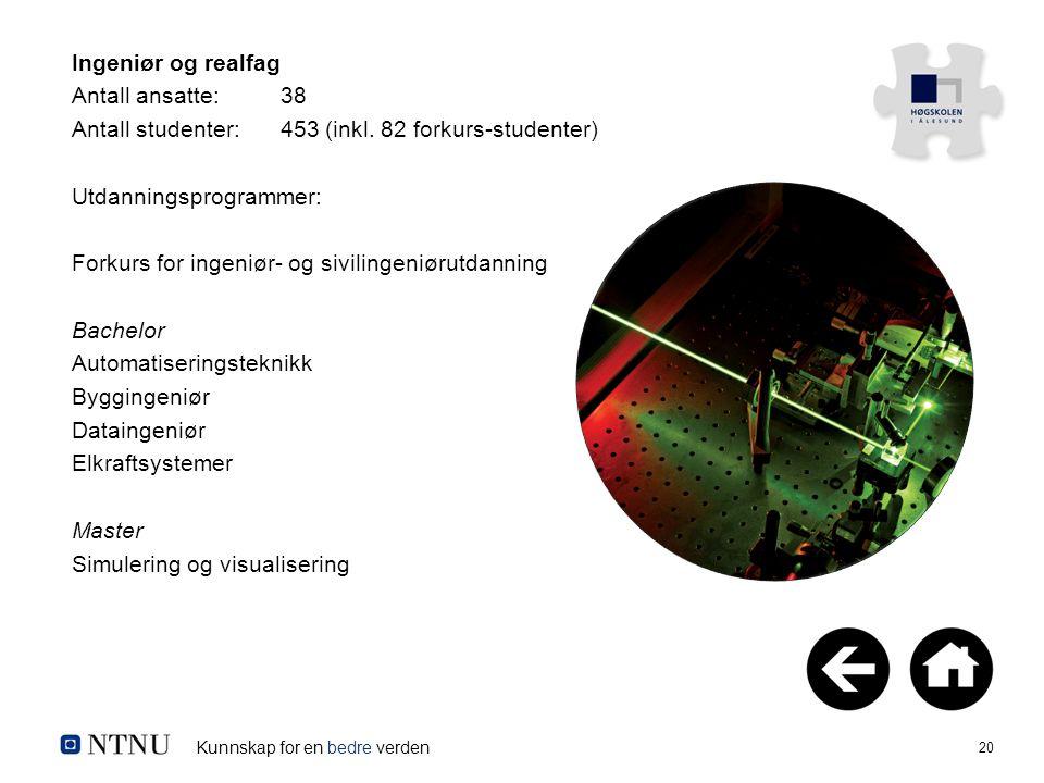Kunnskap for en bedre verden 20 Ingeniør og realfag Antall ansatte:38 Antall studenter:453 (inkl. 82 forkurs-studenter) Utdanningsprogrammer: Forkurs