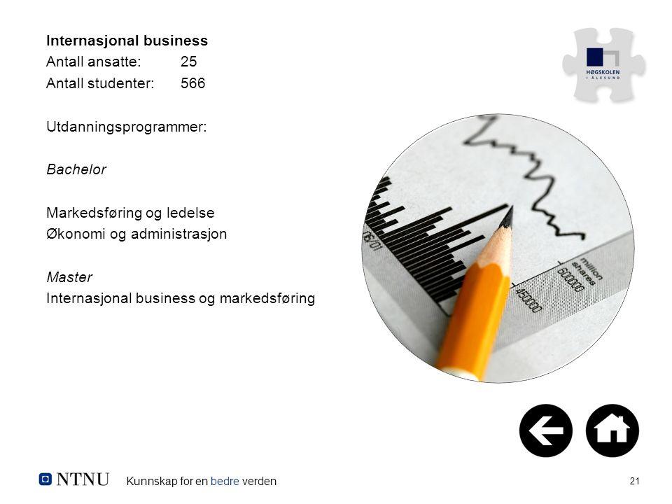 Kunnskap for en bedre verden 21 Internasjonal business Antall ansatte:25 Antall studenter:566 Utdanningsprogrammer: Bachelor Markedsføring og ledelse