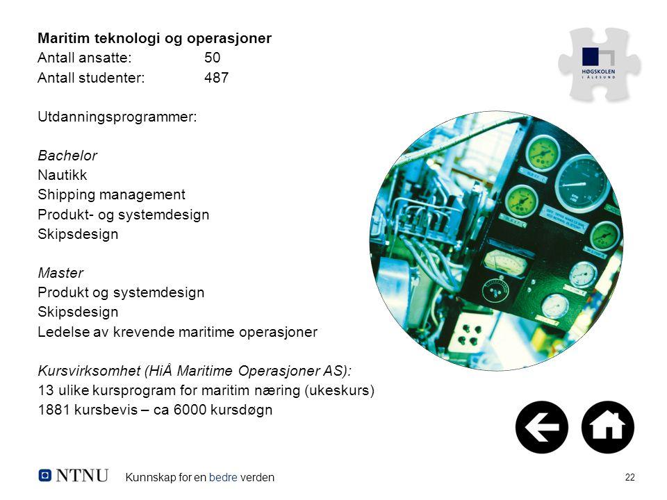 Kunnskap for en bedre verden 22 Maritim teknologi og operasjoner Antall ansatte:50 Antall studenter:487 Utdanningsprogrammer: Bachelor Nautikk Shippin