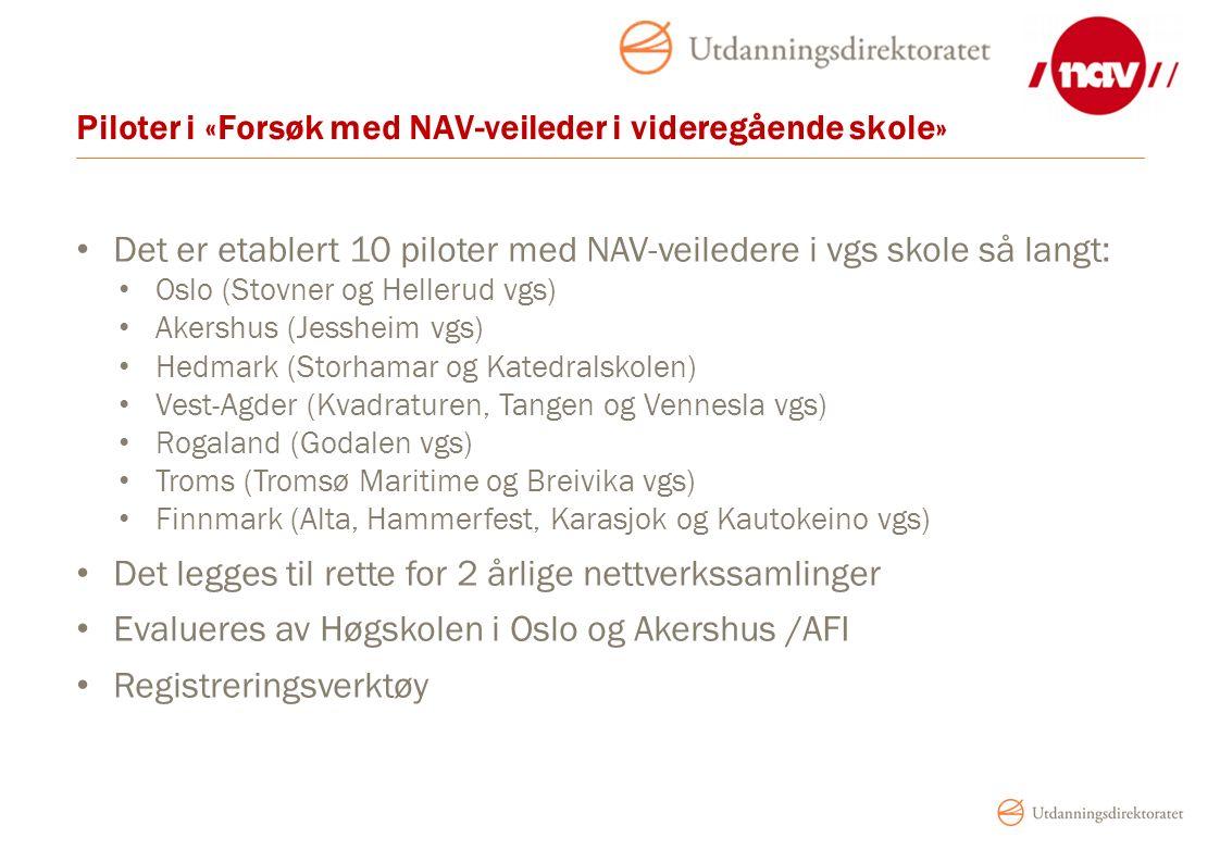 Piloter i «Forsøk med NAV-veileder i videregående skole» Det er etablert 10 piloter med NAV-veiledere i vgs skole så langt: Oslo (Stovner og Hellerud vgs) Akershus (Jessheim vgs) Hedmark (Storhamar og Katedralskolen) Vest-Agder (Kvadraturen, Tangen og Vennesla vgs) Rogaland (Godalen vgs) Troms (Tromsø Maritime og Breivika vgs) Finnmark (Alta, Hammerfest, Karasjok og Kautokeino vgs) Det legges til rette for 2 årlige nettverkssamlinger Evalueres av Høgskolen i Oslo og Akershus /AFI Registreringsverktøy