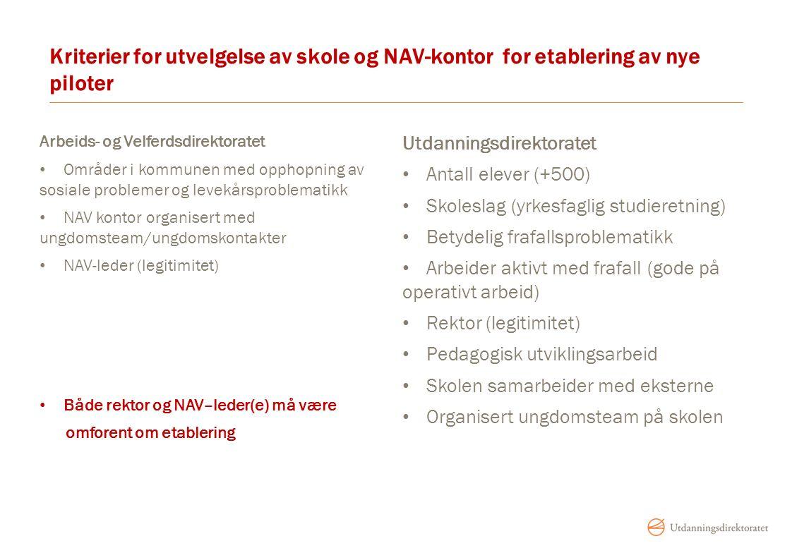 Kriterier for utvelgelse av skole og NAV-kontor for etablering av nye piloter Arbeids- og Velferdsdirektoratet Områder i kommunen med opphopning av so