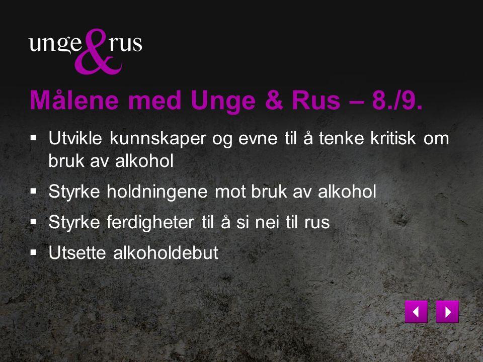 Målene med Unge & Rus – 8./9.