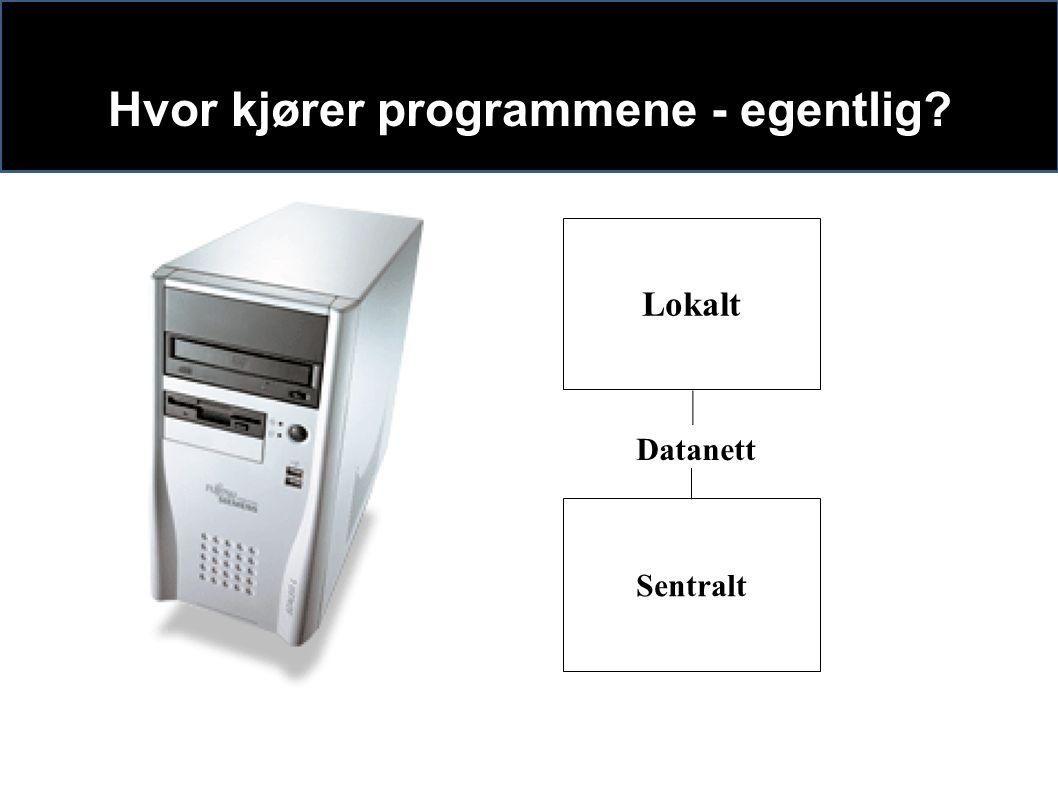 Hvor kjører programmene - egentlig Sentralt Lokalt Datanett