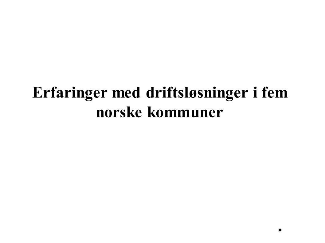 Erfaringer med driftsløsninger i fem norske kommuner.