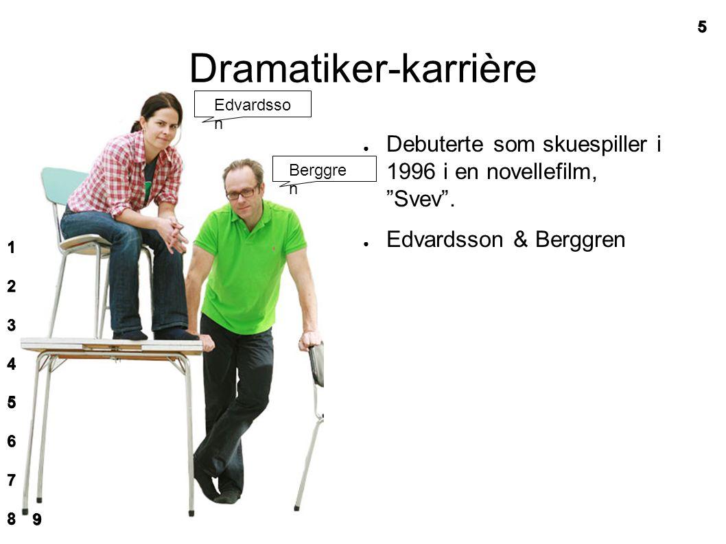 Dramatiker-karrière ● Debuterte som skuespiller i 1996 i en novellefilm, Svev .