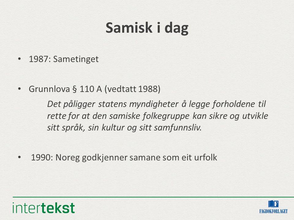 Samisk i dag 1987: Sametinget Grunnlova § 110 A (vedtatt 1988) Det påligger statens myndigheter å legge forholdene til rette for at den samiske folkegruppe kan sikre og utvikle sitt språk, sin kultur og sitt samfunnsliv.