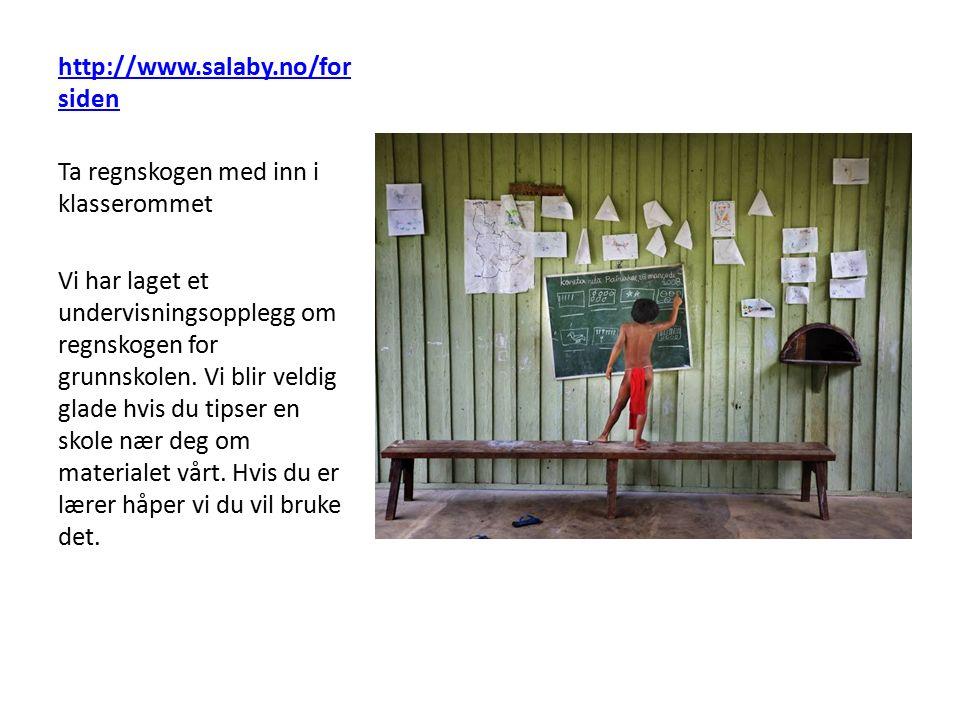 http://www.salaby.no/for siden Ta regnskogen med inn i klasserommet Vi har laget et undervisningsopplegg om regnskogen for grunnskolen. Vi blir veldig