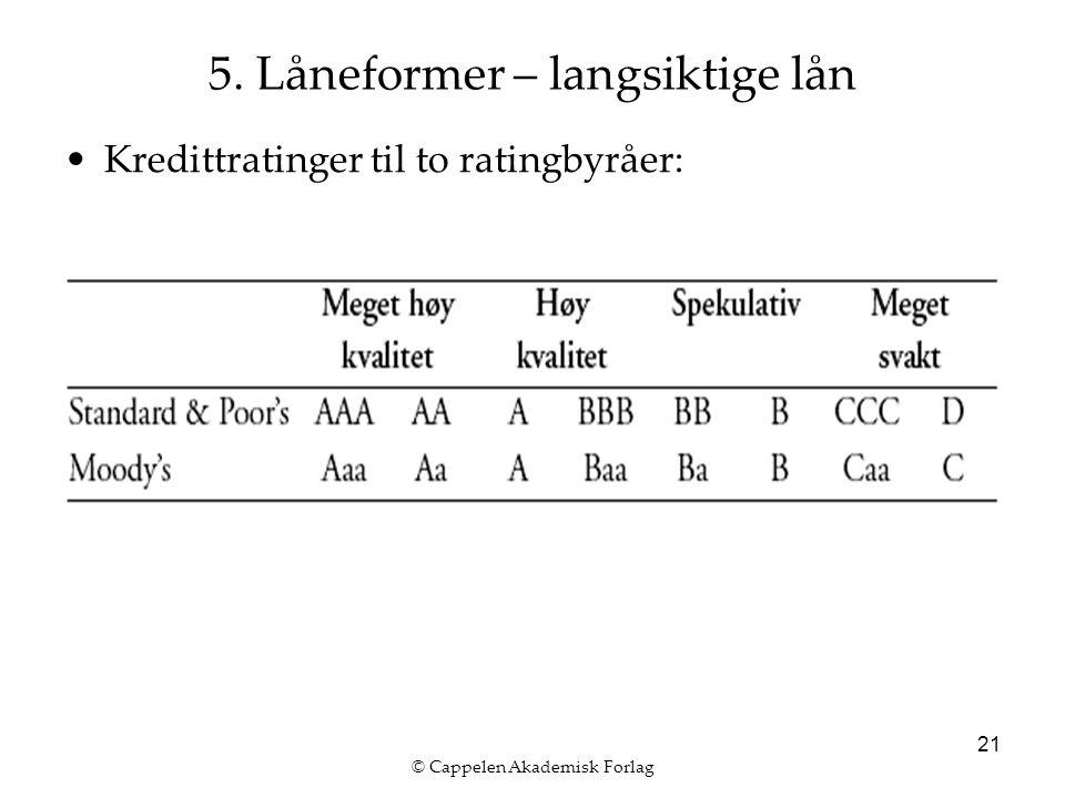 © Cappelen Akademisk Forlag 21 5. Låneformer – langsiktige lån Kredittratinger til to ratingbyråer:
