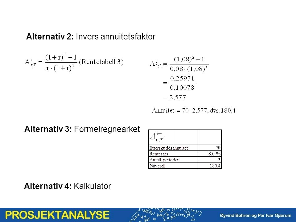 Alternativ 2: Invers annuitetsfaktor Alternativ 3: Formelregnearket Alternativ 4: Kalkulator