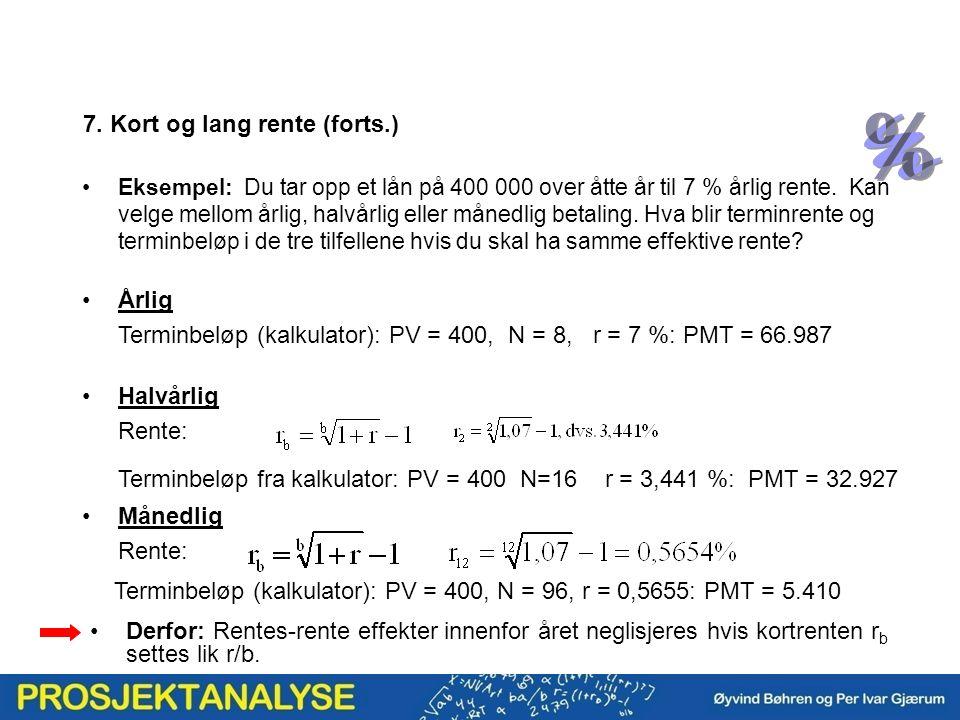 Årlig Terminbeløp (kalkulator): PV = 400, N = 8, r = 7 %: PMT = 66.987 Halvårlig Rente: Terminbeløp fra kalkulator: PV = 400 N=16 r = 3,441 %: PMT = 3