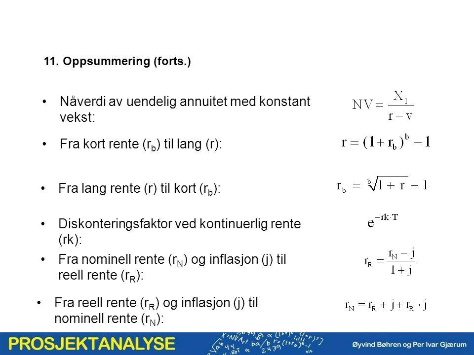 Fra kort rente (r b ) til lang (r): Diskonteringsfaktor ved kontinuerlig rente (rk): Nåverdi av uendelig annuitet med konstant vekst: 11. Oppsummering