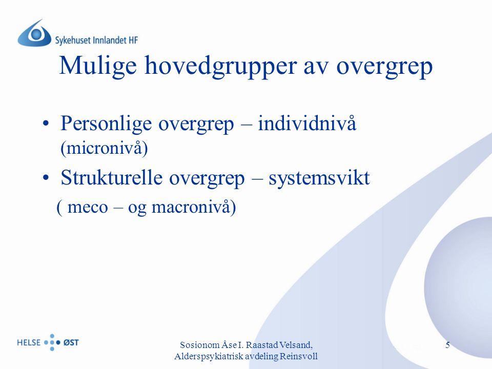 Sosionom Åse I.Raastad Velsand, Alderspsykiatrisk avdeling Reinsvoll 6 Personlige overgrep.