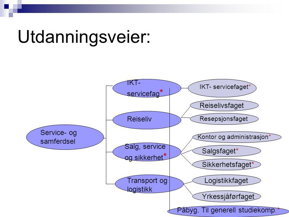 SERVICE- OG SAMFERDSEL Vg2 Utdanningsveier videre Læreplass Studiekompetanse mm.