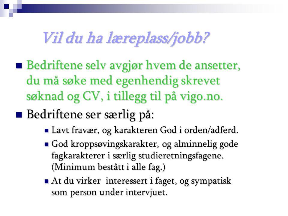 Vil du ha læreplass/jobb.