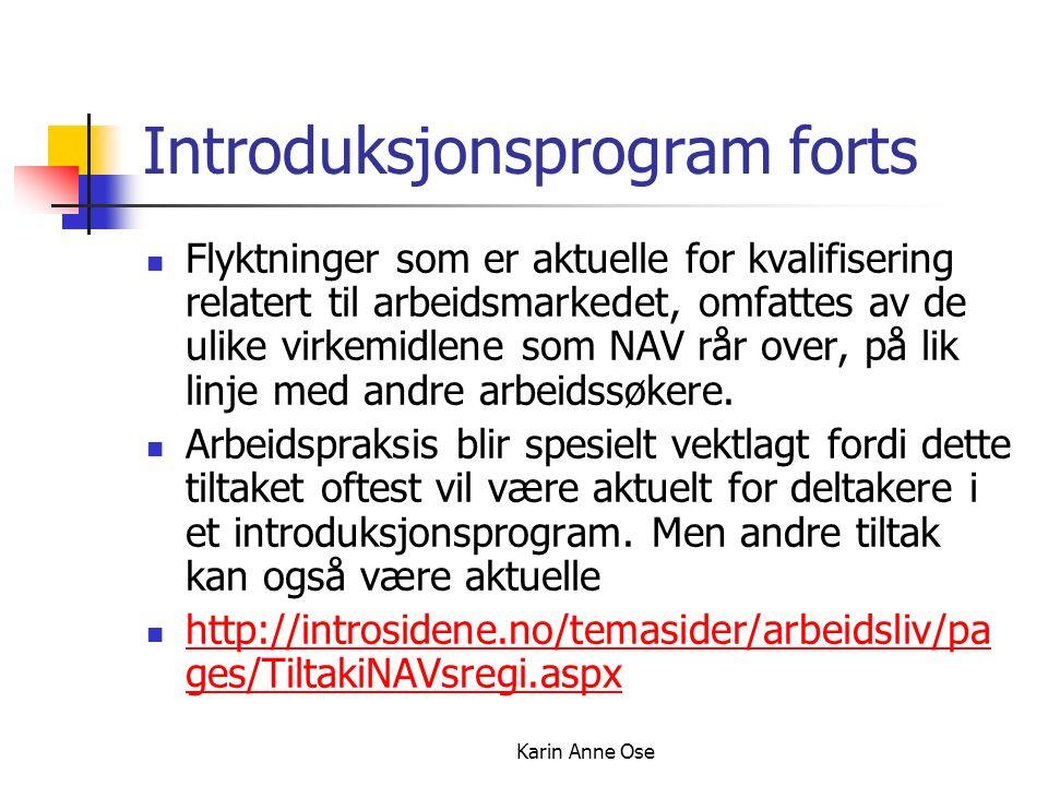 Karin Anne Ose Introduksjonsprogram forts Flyktninger som er aktuelle for kvalifisering relatert til arbeidsmarkedet, omfattes av de ulike virkemidlene som NAV rår over, på lik linje med andre arbeidssøkere.