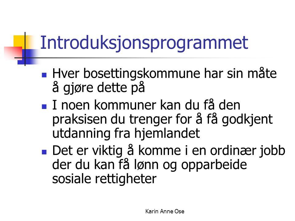 Karin Anne Ose Introduksjonsprogrammet Hver bosettingskommune har sin måte å gjøre dette på I noen kommuner kan du få den praksisen du trenger for å få godkjent utdanning fra hjemlandet Det er viktig å komme i en ordinær jobb der du kan få lønn og opparbeide sosiale rettigheter