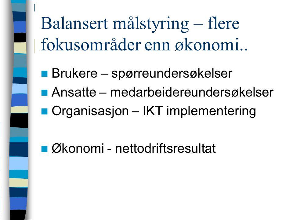 Balansert målstyring – flere fokusområder enn økonomi..