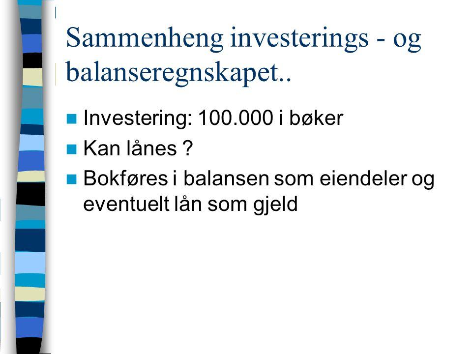 Sammenheng investerings - og balanseregnskapet.. Investering: 100.000 i bøker Kan lånes .