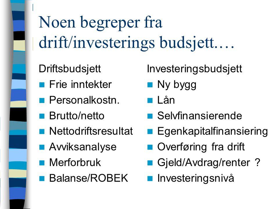 Noen begreper fra drift/investerings budsjett.… Driftsbudsjett Frie inntekter Personalkostn.