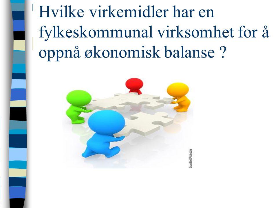 Hvilke virkemidler har en fylkeskommunal virksomhet for å oppnå økonomisk balanse