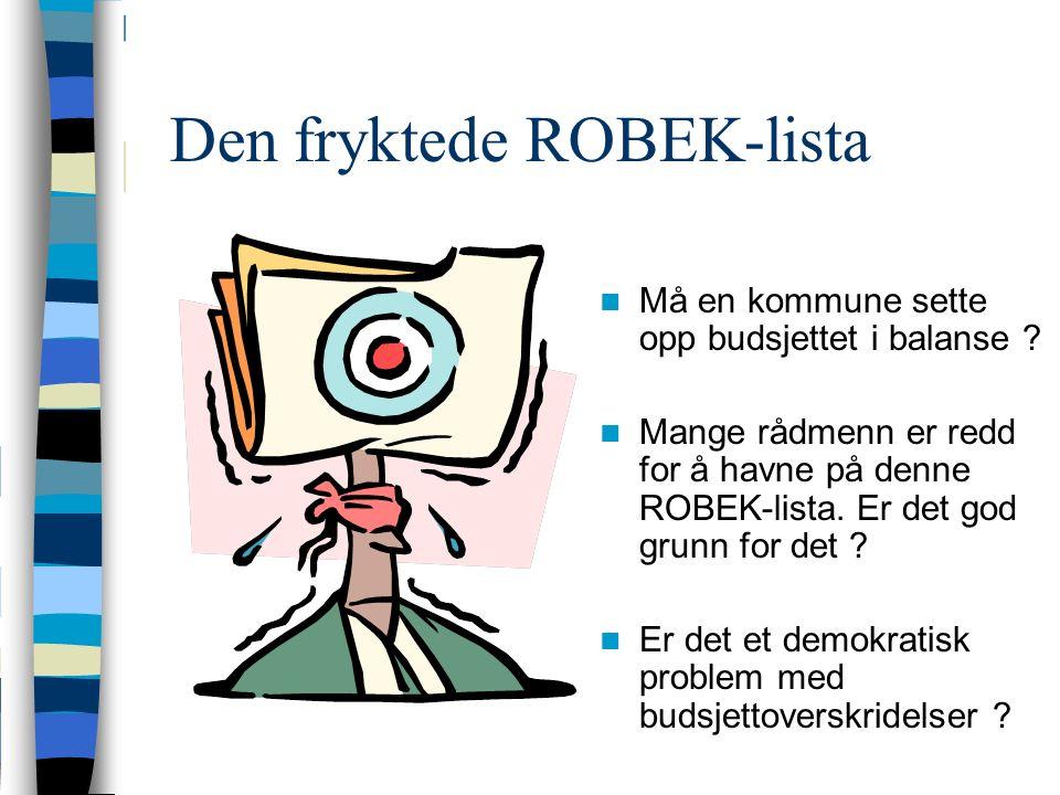 Den fryktede ROBEK-lista Må en kommune sette opp budsjettet i balanse .