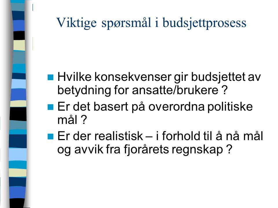 Viktige spørsmål i budsjettprosess Hvilke konsekvenser gir budsjettet av betydning for ansatte/brukere .