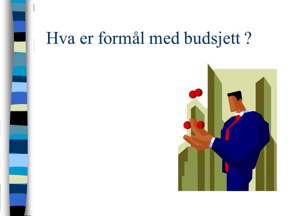 Hva er formål med budsjett