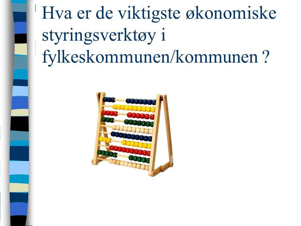 Hva er de viktigste økonomiske styringsverktøy i fylkeskommunen/kommunen