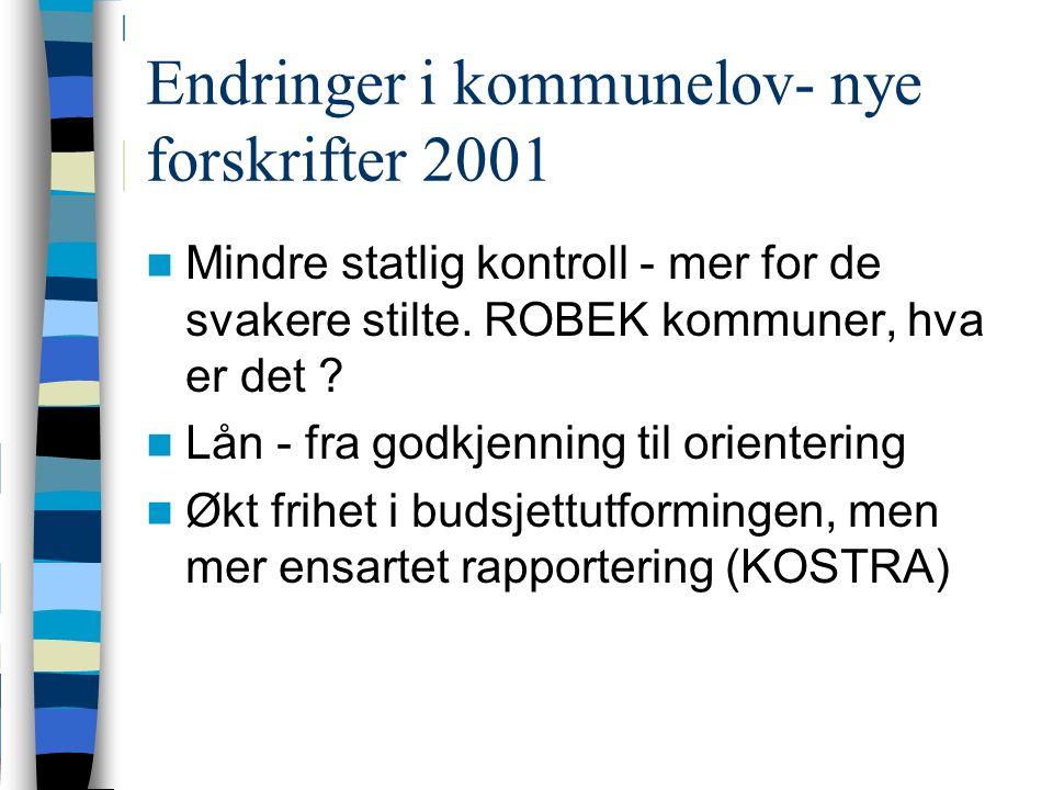 Endringer i kommunelov- nye forskrifter 2001 Mindre statlig kontroll - mer for de svakere stilte.