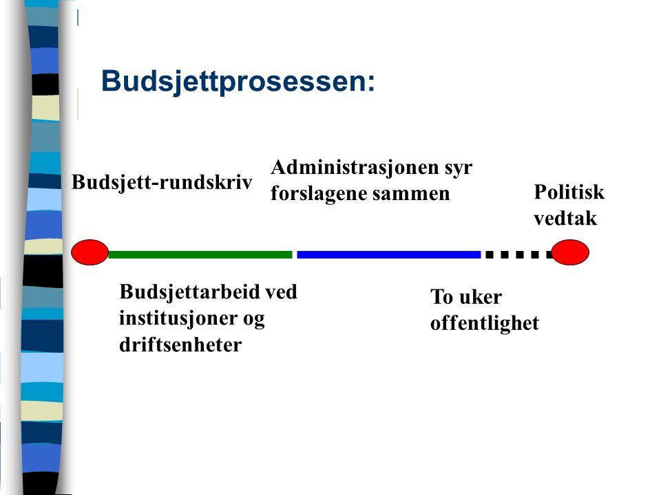 Budsjettprosessen: Budsjett-rundskriv Budsjettarbeid ved institusjoner og driftsenheter Administrasjonen syr forslagene sammen Politisk vedtak To uker offentlighet