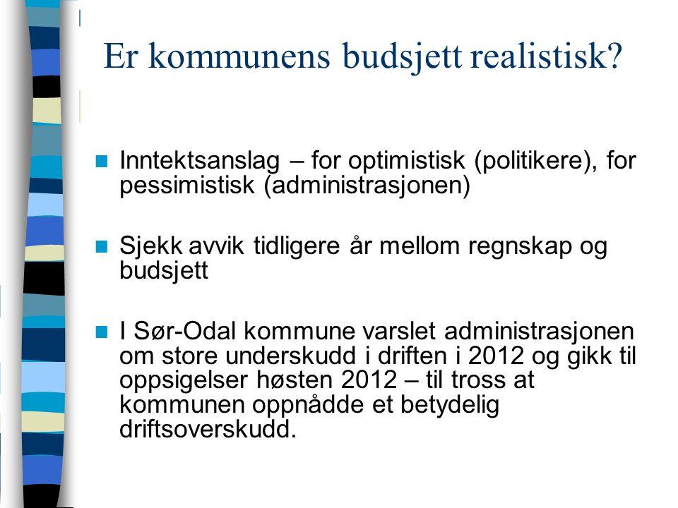 Er kommunens budsjett realistisk.