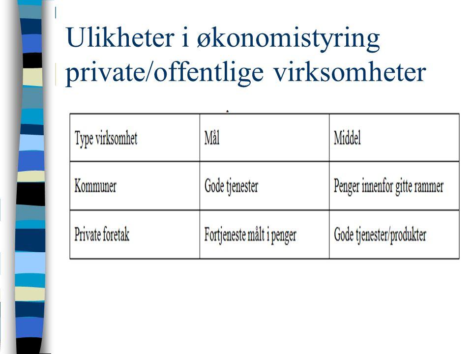 Ulikheter i økonomistyring private/offentlige virksomheter