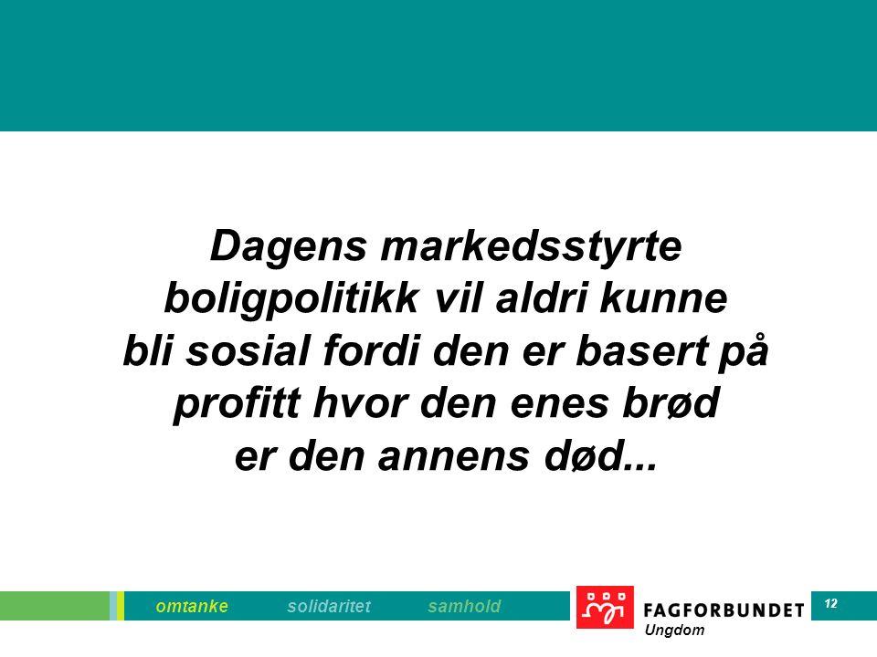 omtanke solidaritet samhold Ungdom 12 Dagens markedsstyrte boligpolitikk vil aldri kunne bli sosial fordi den er basert på profitt hvor den enes brød er den annens død...