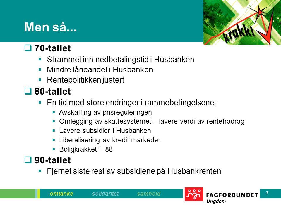 omtanke solidaritet samhold Ungdom 28 Norsk boligsubsidiepolitikk  Skatteutgiften = 20 milliarder.