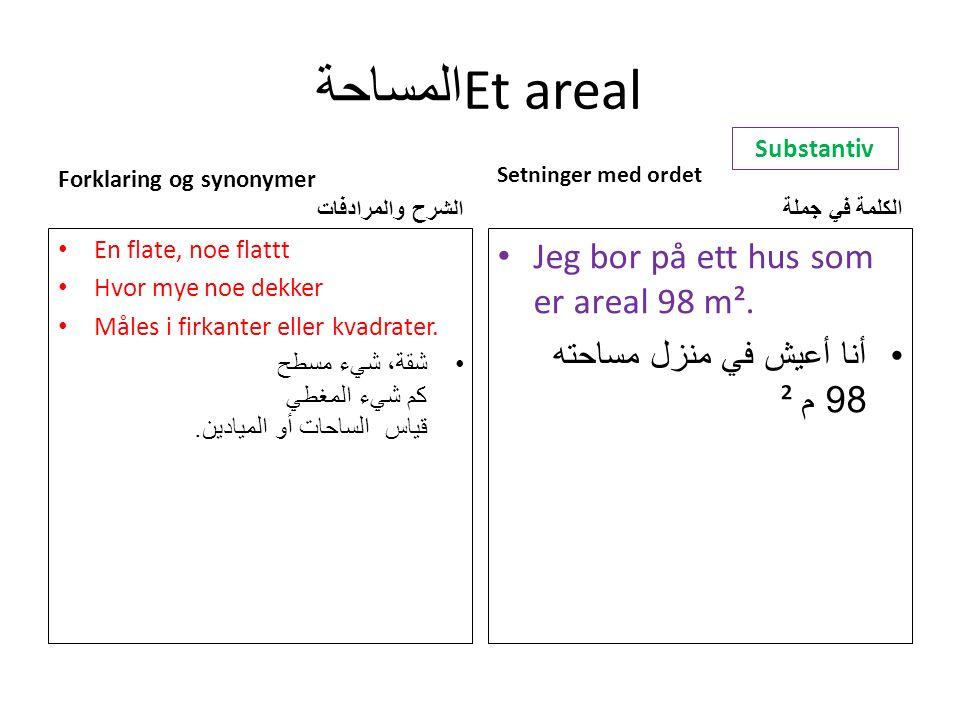المساحة Et areal Forklaring og synonymer الشرح والمرادفات En flate, noe flattt Hvor mye noe dekker Måles i firkanter eller kvadrater.