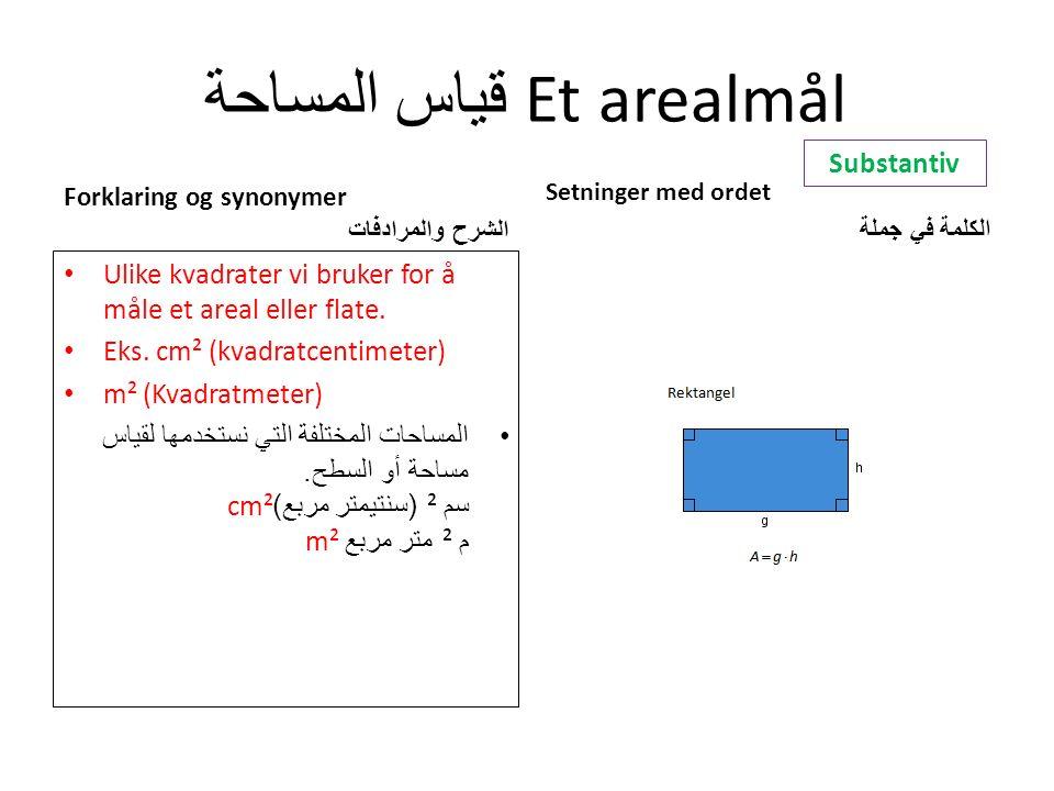قياس المساحة Et arealmål Forklaring og synonymer الشرح والمرادفات Ulike kvadrater vi bruker for å måle et areal eller flate.