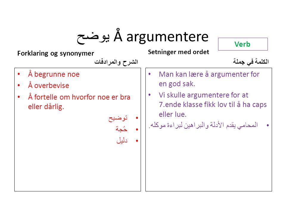 يوضح Å argumentere Forklaring og synonymer الشرح والمرادفات Å begrunne noe Å overbevise Å fortelle om hvorfor noe er bra eller dårlig.