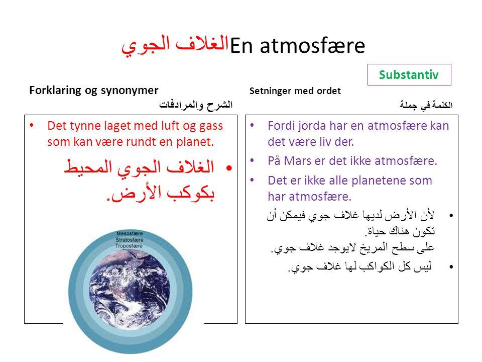 الغلاف الجوي En atmosfære Forklaring og synonymer الشرح والمرادفات Det tynne laget med luft og gass som kan være rundt en planet.