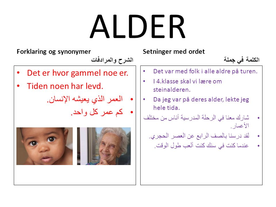 ALDER Forklaring og synonymer الشرح والمرادفات Det er hvor gammel noe er.
