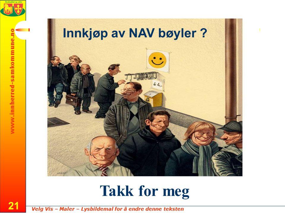 Velg Vis – Maler – Lysbildemal for å endre denne teksten www.innherred-samkommune.no 21 Innkjøp av NAV bøyler .