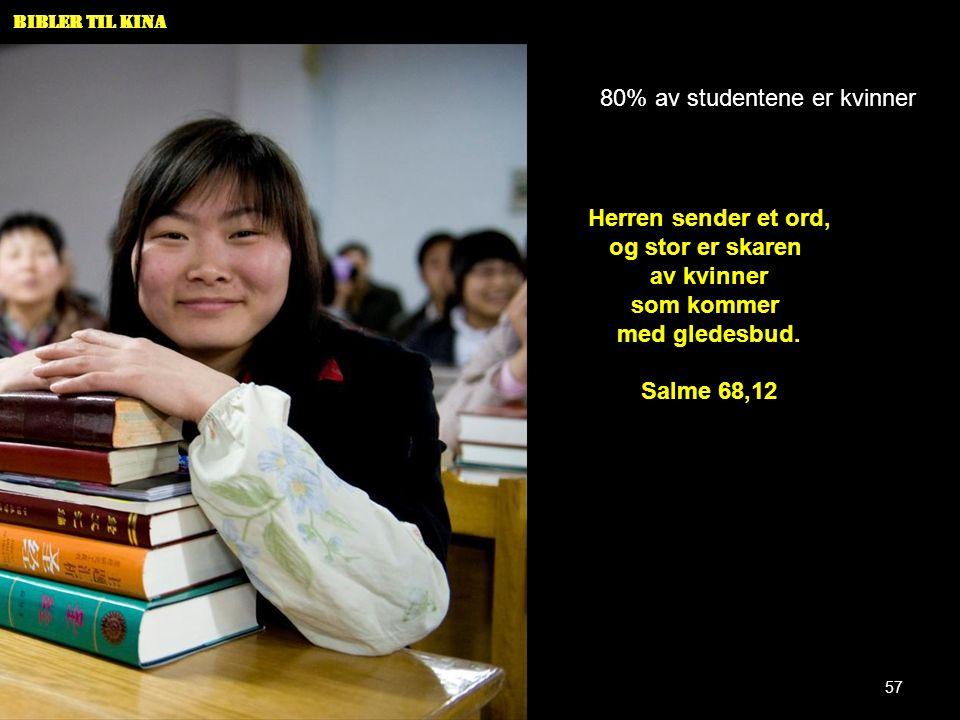 Bibler til Kina 80% av studentene er kvinner Herren sender et ord, og stor er skaren av kvinner som kommer med gledesbud. Salme 68,12 57