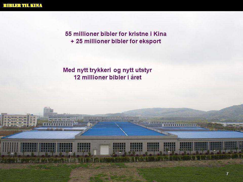 55 millioner bibler for kristne i Kina + 25 millioner bibler for eksport Med nytt trykkeri og nytt utstyr 12 millioner bibler i året 7